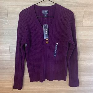 Chaps Classic Purple Cable Knit V-neck Sweater